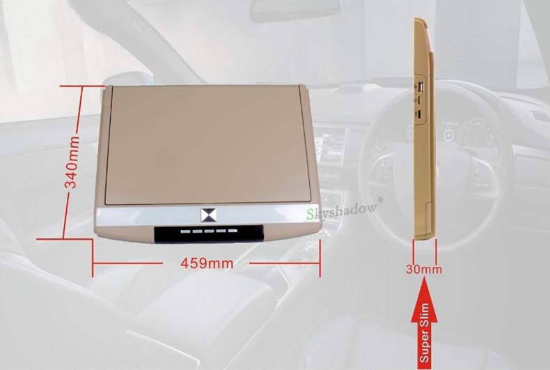 "Top Stylish 17.3"" / 15.6"" Color TFT LCD Display 12V~24V Roof Mount Car Monitor Flip Down Car Monitor Player HD 1080P HDMI USB SD FM 4"