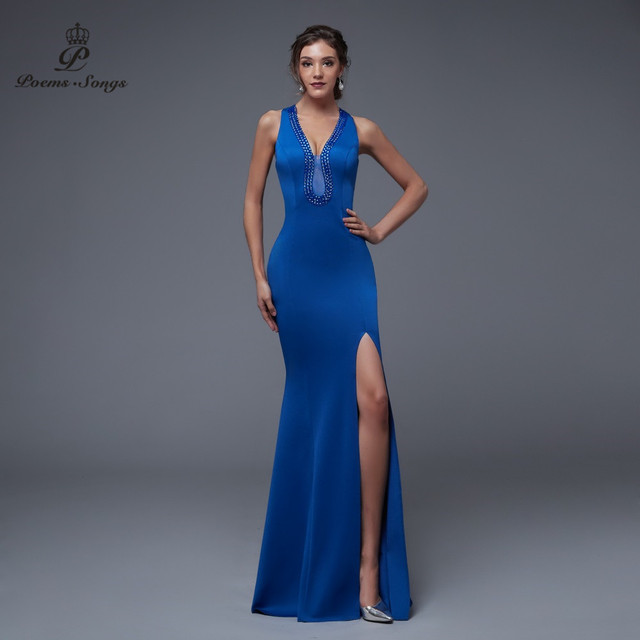 Poems Songs 2019 New Sexy Personality Back Evening prom gowns Party dress vestido de festa Elegant Vintage robe longue 3