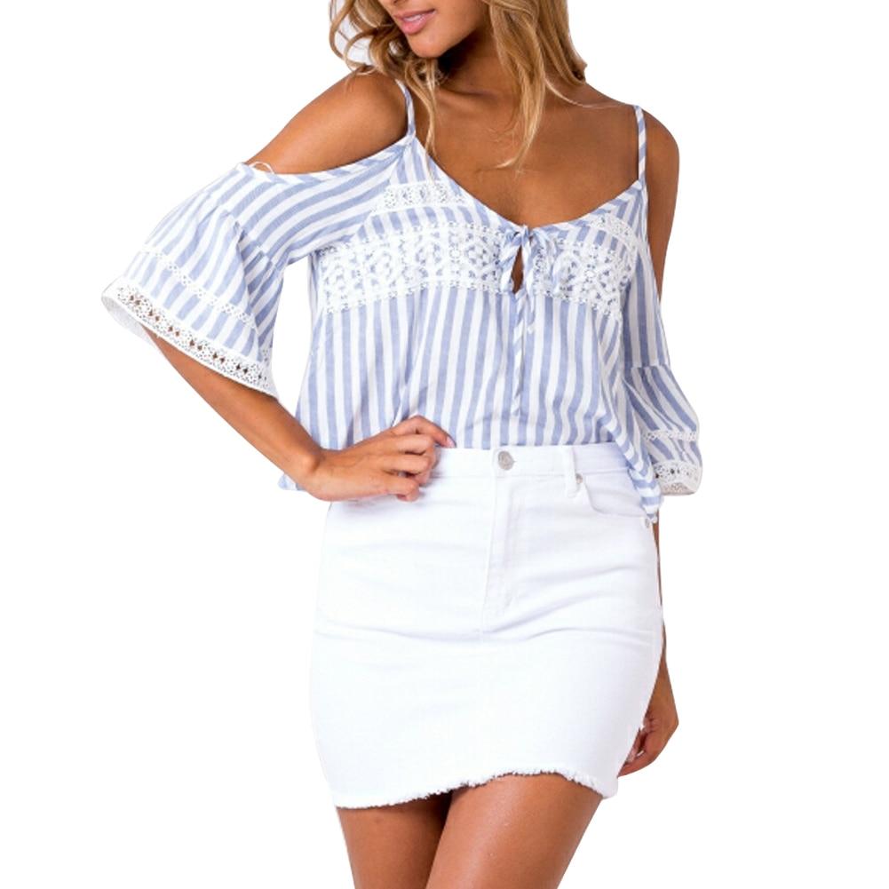 Mujeres sexy off shoulder correa de rayas blusa camisas trajes casual tops tees