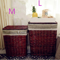2018 Wicker storage basket rattan hamper laundry basket toy clothes storage box with lid M L Available