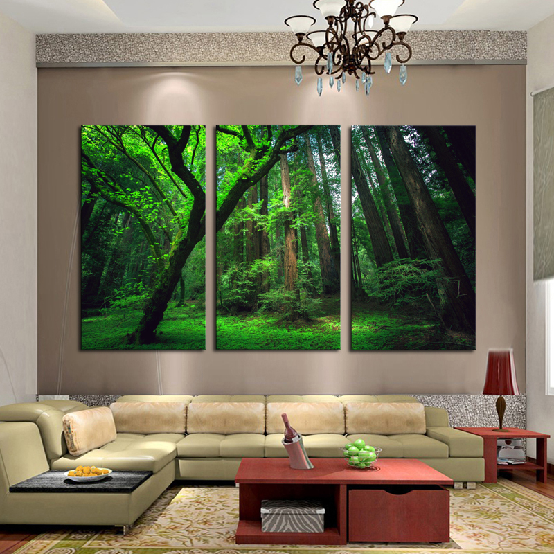 framed home decor canvas art painting forst nature. Black Bedroom Furniture Sets. Home Design Ideas