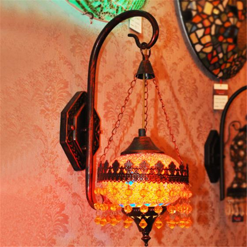 Bohemia Creative Retro Restaurant Wall Lamp Cafe Hotel Bar Livingroom Bedroom Personality Glass Decoration Lamp Free Shipping background spider led wall lamp personality retro industrial restaurant cafe aisle ant insect decoration lamp free shipping