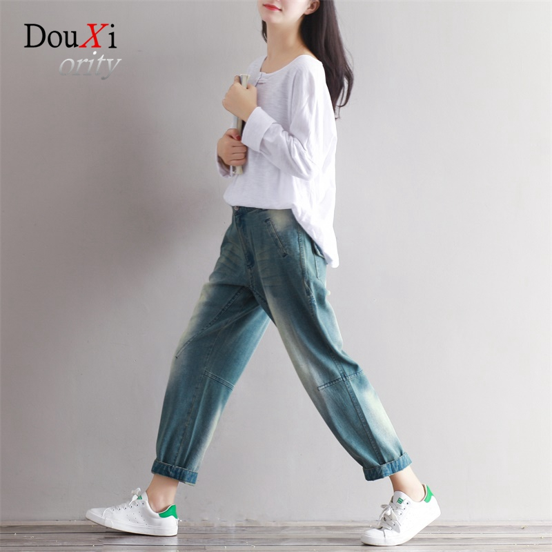 Fashion Women Jeans Pants Summer Vintage Casual Denim Large Size 3XL Loose Harem Trousers Cotton Radish Stitching Ankle-length new summer vintage women ripped hole jeans high waist floral embroidery loose fashion ankle length women denim jeans harem pants