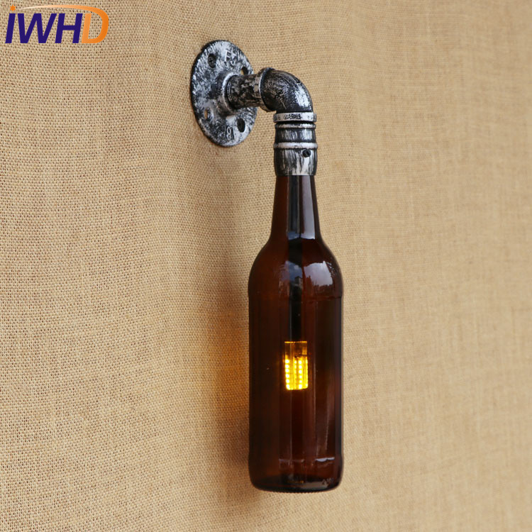 IWHD Retro Glass Bottle Water Pipe Wall Lamp Sconce LED Loft Style Industrial Vintage Wall Light Fixtures Indoor Lighting adnart flavour it glass water bottle with fruit infuser