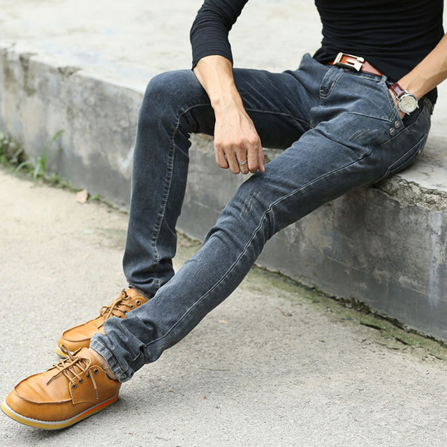 2018 NEW Vintage Men Slim Fit Jeans High Quality Trousers Designer Business
