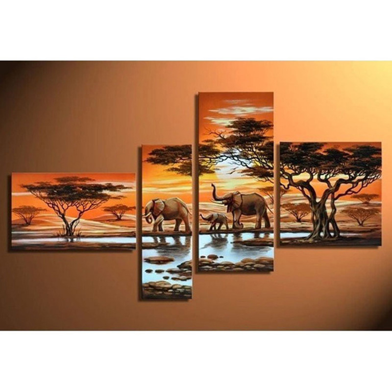 5D DIY Full Square Diamond Painting Elephant family Multi-picture Combination Embroidery Cross Stitch Mosaic Decor