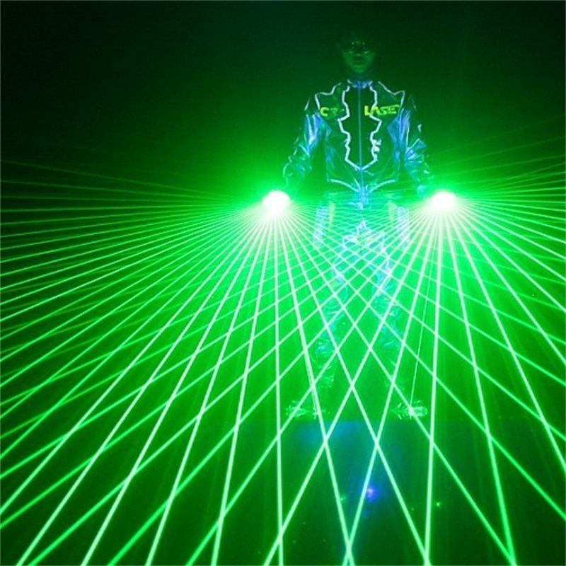 drop ship Laser Gloves DJ Tunnel Effect Auto Rotating Vortex Glove Laser hand light for DJ Dance Party Club 532nm Module 80 beam