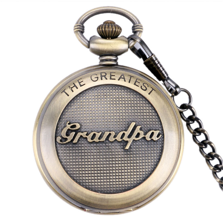 3D The Greatest Grandpa Script Special Vintage Pocket Watch Grandfather Clock Unique Thanksgiving Gifts Fobs Watches Men Clock