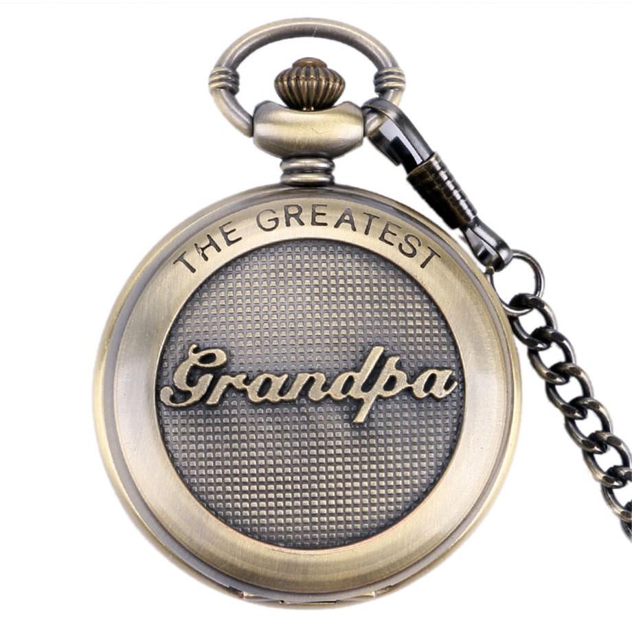 Vintage Pocket Watch 3D The Greatest Grandpa Script Special Grandfather Clock Reloj De Bolsillo Unique Thanksgiving Gifts