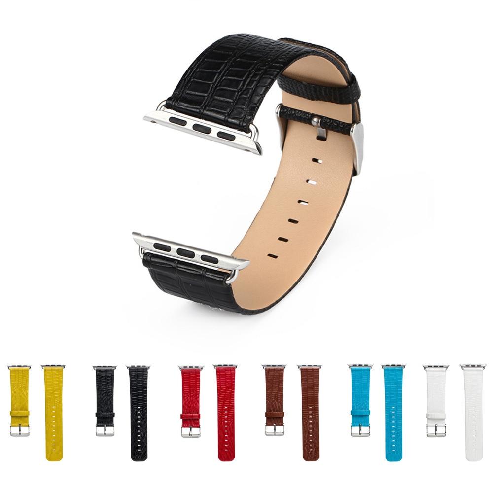 PU leather watch strap for apple watch band 42 mm/38 replacement Watch Strap for iwatch 1/2/3 belt Lizard pattern band lizard сандали posh moc 38 sand