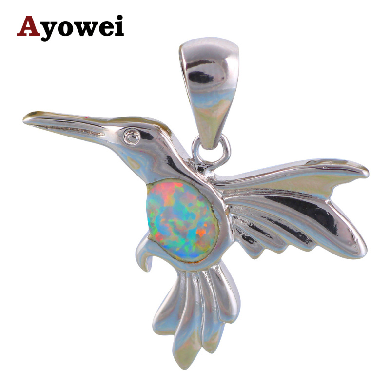 Bird design neaklace women White Fire Opal stamp Silver Pendants for women Fashion jewelry OP510A
