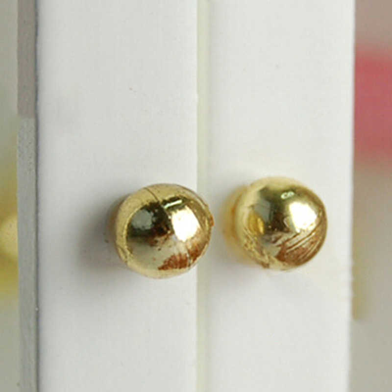 2Pcs 1/12 Dollhouse Accessories Children Toy Miniature Furniture Dolls House Alloy Vintage Door Pull Handles Locks Keys Kids Toy