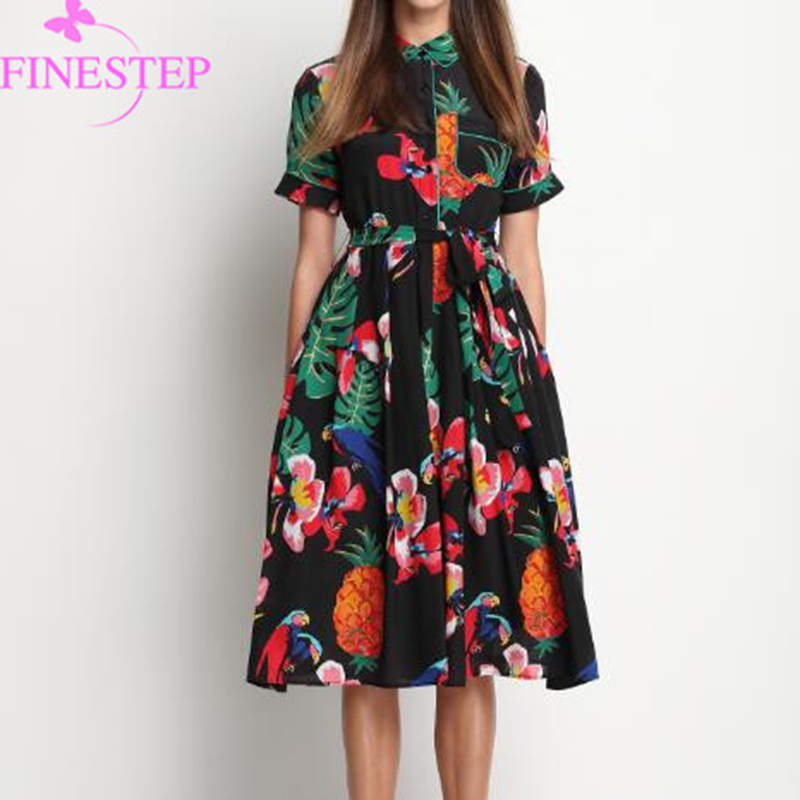 100 Silk Print Dress Women New Cute Short Sleeve Spring Floral Fashion Dresses Peter pan Collar