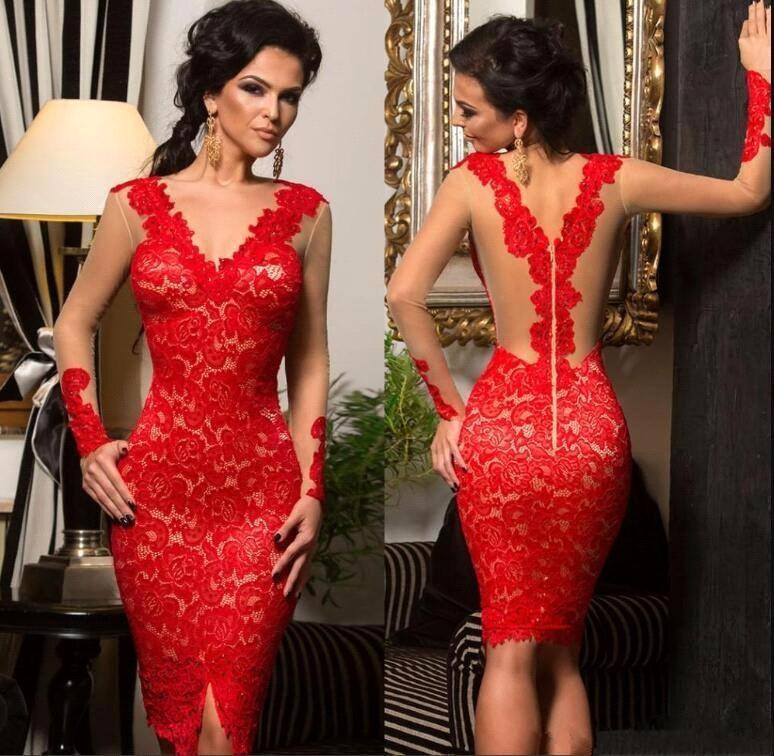 Red Cocktail Dresses 2019 Sheath Deep V-neck Long Sleeves Lace Knee Length Elegant Homecoming Dresses