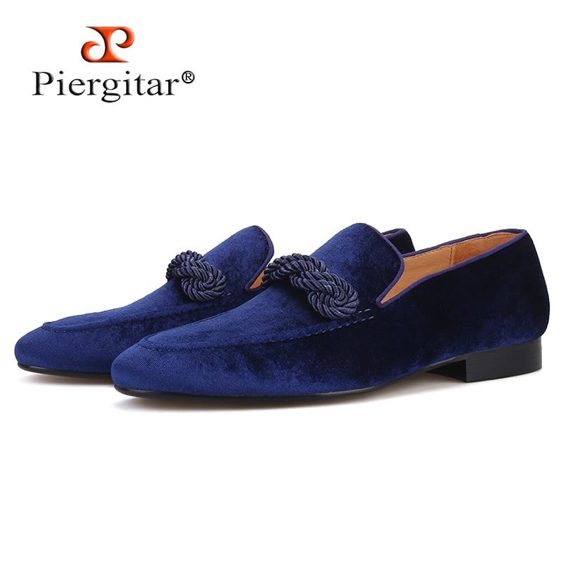 Piergitar 2019 handmade men velvet loafers with navy rape Italian design men smoking slippers banquet and