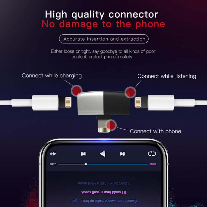 Image 3 - DM 019 Audio Aux Adapter For iPhone Xs Max Xr X 8 7 Plus Earphone Headphone Connector OTG Cable For Lightning Splitter Converter-in Memory Card Adapters from Computer & Office