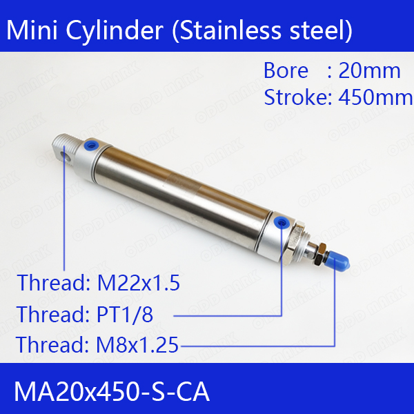 Free shipping Pneumatic Stainless Air Cylinder 20MM Bore 450MM Stroke , MA20X450-S-CA, 20*450 Double Action Mini Round Cylinders free shipping pneumatic stainless air cylinder 20mm bore 400mm stroke ma20x400 s ca 20 400 double action mini round cylinders
