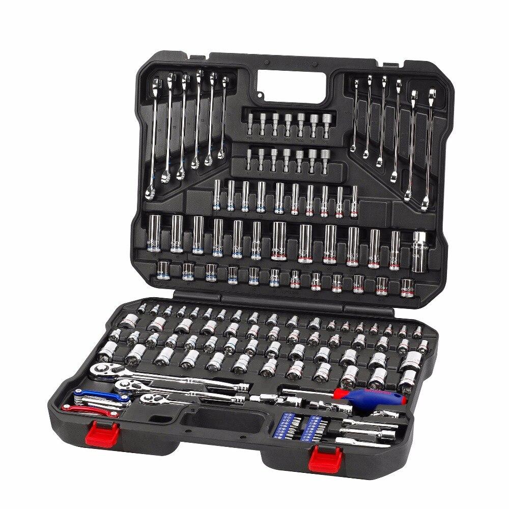 WORKPRO шт. 164 шт. розетки набор механических инструментов ремонт автомобилей Инструменты Гаечные ключи и отвертки, комбинации инструмент набо