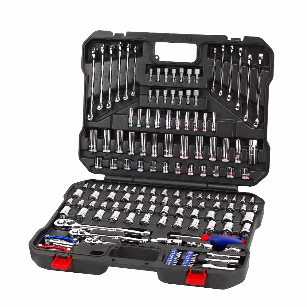 WORKPRO 164PC Sockets Set Mechanic Tool Set Car Repair Tools Wrenches Screwdrivers Ratchet Combination Tool Kits Hex Key