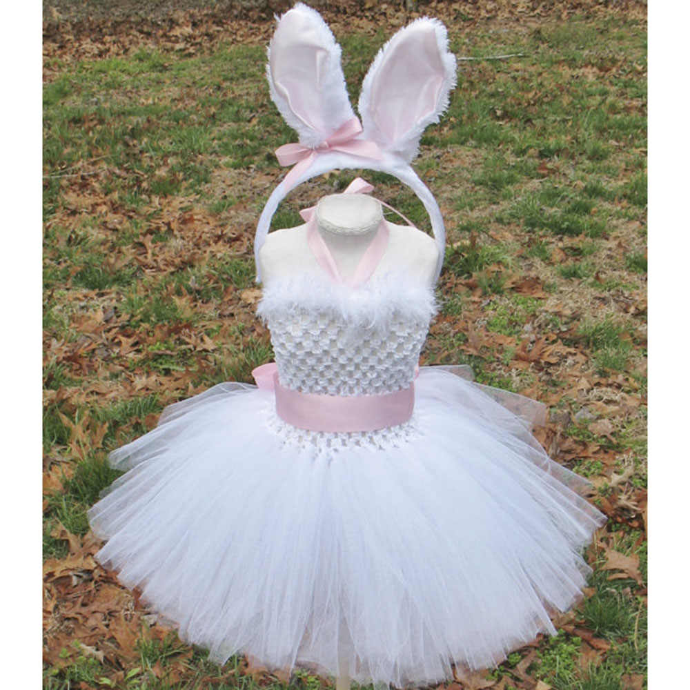 4d06b564e64f0 ... Spring Girl Easter Bunny Dress Toddler Baby White Feather Rabbit  Cosplay Celebrate Custom With Pink Ear ...