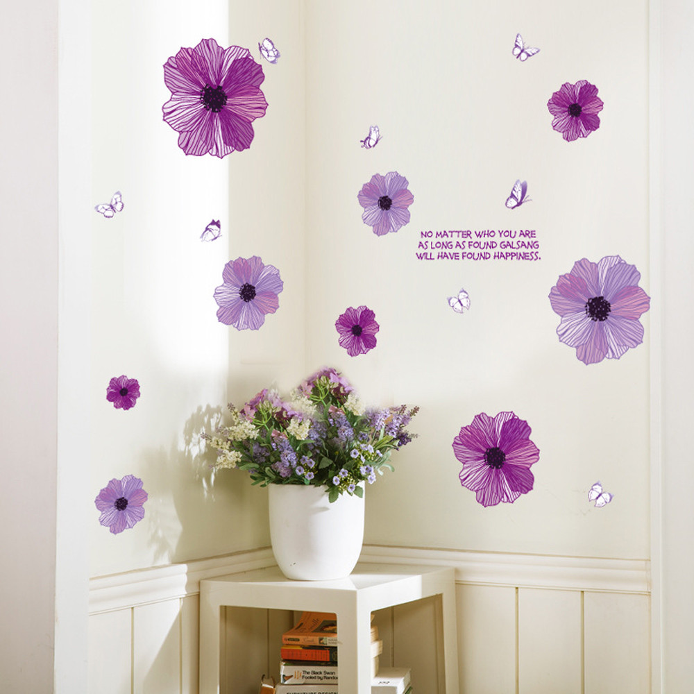 Purple Flowers Background Wall Decoration Stranger Things