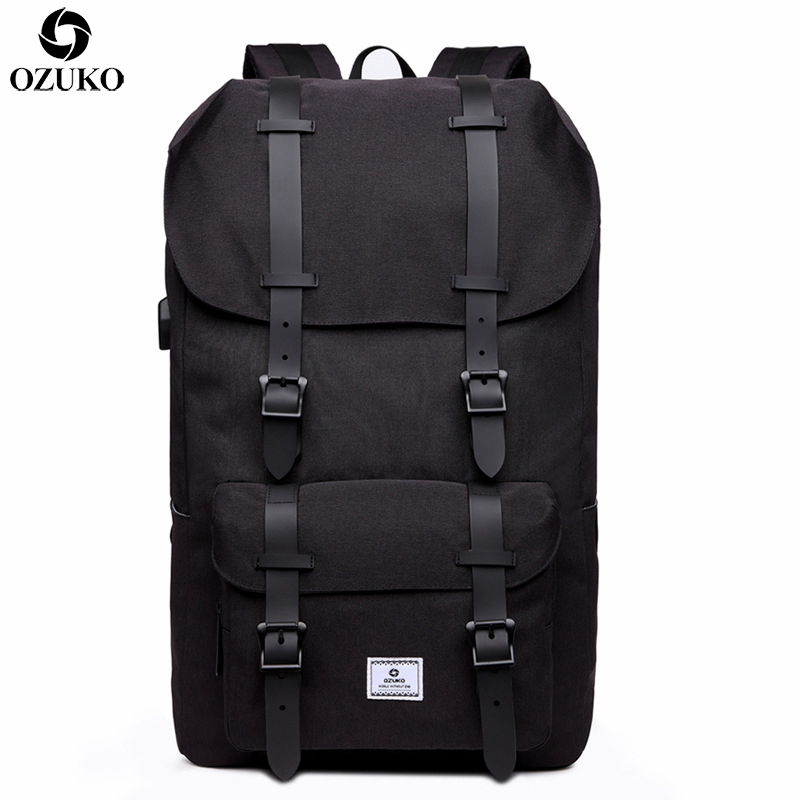 OZUKO Men's Backpack Casual Student School Backpack Large Capacity Travel Backpack USB charging Laptop Computer Bag For Teenager ozuko 14 inch laptop backpack large capacity waterproof men business computer bag oxford travel mochila school bag for teenagers