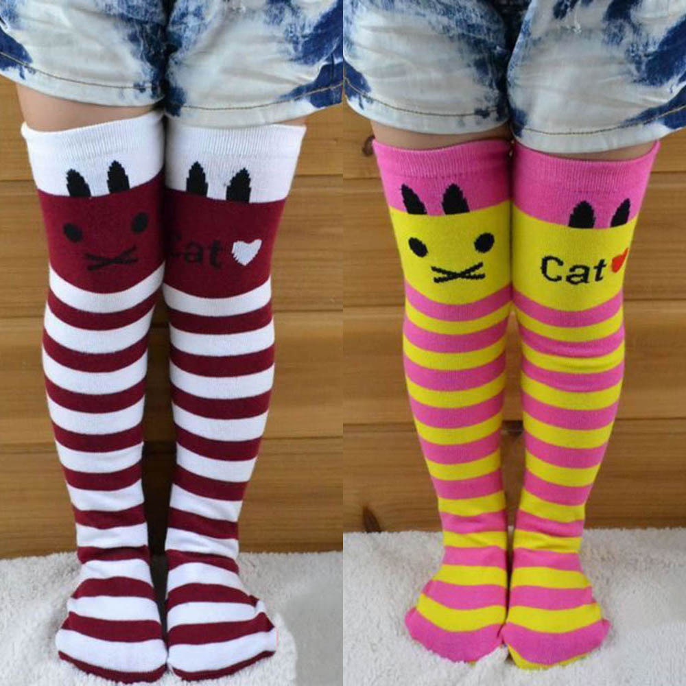 Cotton-Knee-High-Socks-Children-In-tube-Socks-Striped-knee-girls-Straight-Colorful-Socks-1