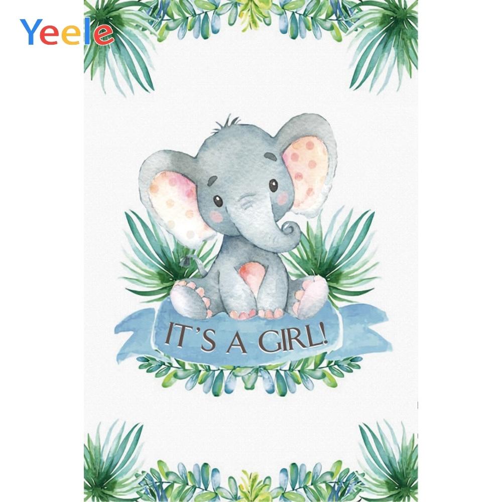 Yeele Elephant Leaves Newborn Children Baby Shower Photography Backdrop Custom Vinyl Photographic Background  For Photo Studio