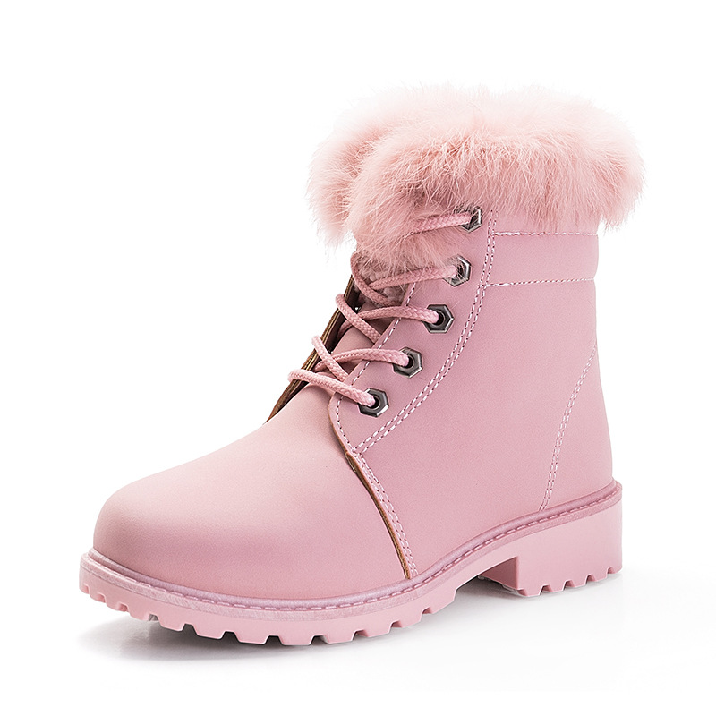 Quality Winter Girls Boys Snow Boots Children Ankle Plush Cotton-Padded Rabbit Fur Warm Booties Fashion Kids Big Girls Shoes new winter children snow boots boys girls boots warm plush lining kids winter shoes