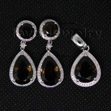 Women Beautiful Jewelry Set In Solid 14Kt White Gold Diamond Jewelry Suit Smoke Topaz Earrings Pendant Top Sale