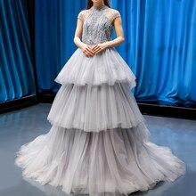 Gris col haut perles Sexy robes de soirée 2020 sans manches à plusieurs niveaux a ligne robe formelle Photo réelle 66701