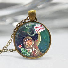 Fashion Christmas Jewelry, Vintage Astronaut, Outer Space, Merry Christmas Kitschy Art Pendant Maxi Necklace Women Men HZ1