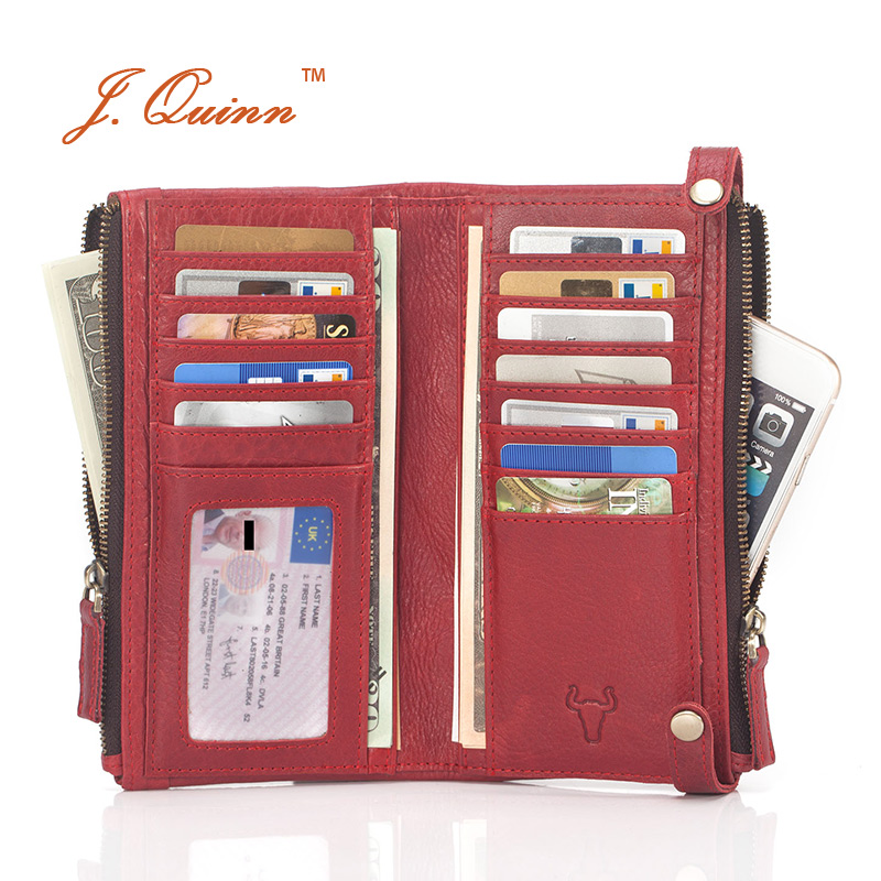 J.Quinn Women's Wallets Genuine Zipper Women Leather Wallet Calfskin Female Red Purse Luxury Brand Long Cow Ladies Purses Bifold