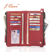J.Quinn Women Wallet 2016 Luxury Brand Double Zipper Genuine Leather Cow Ladies Purse Red Vintage Long Womens Wallets and Purses недорго, оригинальная цена