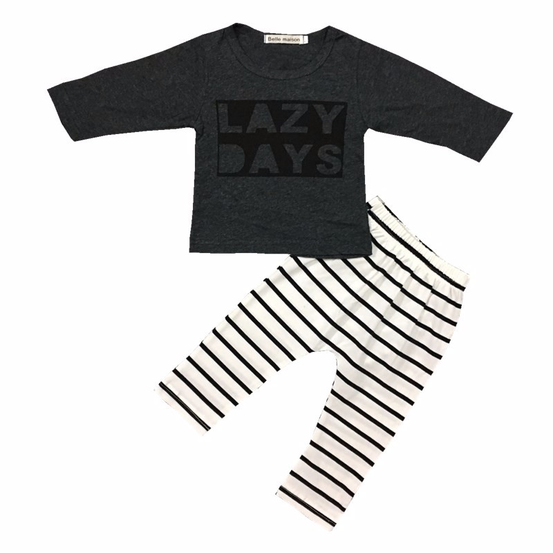 Autumn Baby boy clothes Newborn Infant cotton long sleeves baby girls clothing sets 2pcs T-shirt + pants Lazy Days baby clothes 1
