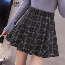 Осенне-зимняя винтажная шерстяная клетчатая юбка женская плиссированная Повседневная мини-юбка-Скейтер женская элегантная юбка-пачка с высокой талией юбки черного цвета Saia