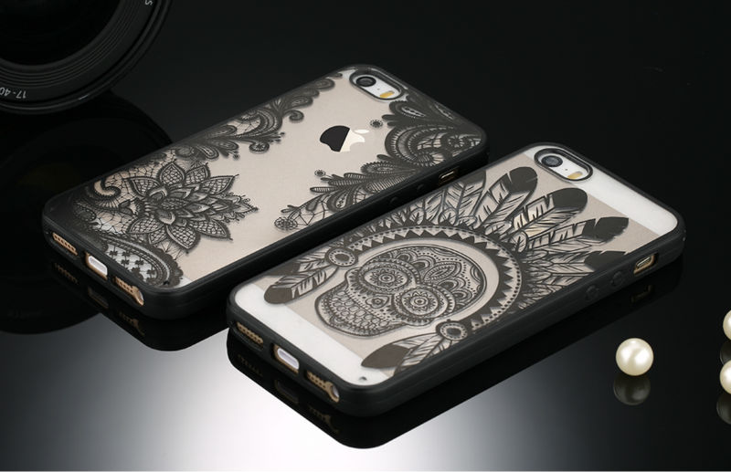 Sexy Retro Floral Phone Case For Apple iPhone 7 6 6s 5 5s SE Plus Lace Flower Hard PC+TPU Cases Back Cover Capa For iPhone7Plus 4