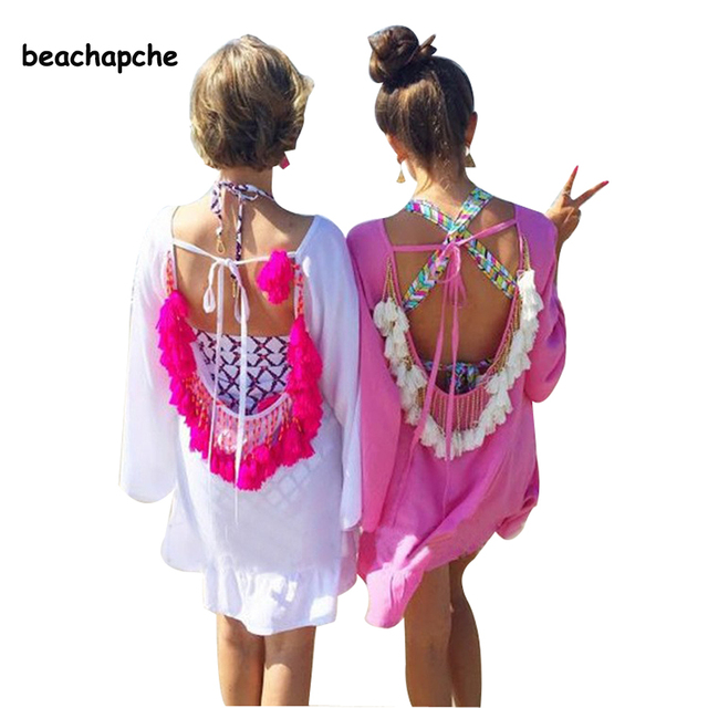 women summer dress 2017  Sexy Backless tassels woman beach dress sexy party dresses