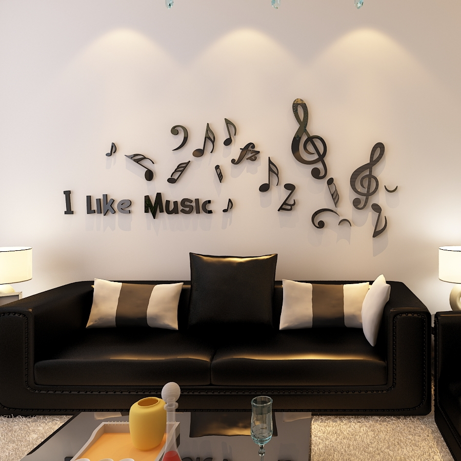 online get cheap music bedrooms aliexpress com alibaba group new arrival love music acrylic wall stickers living room music classroom bedroom decoration creative 3d sticker