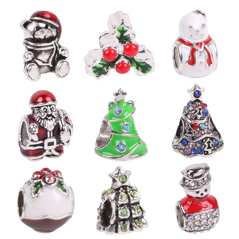 aifeili 2018 silver color enamel santa christmas gift box charms european bead fit pandora bracelet diy jewelry making fashion in beads from jewelry
