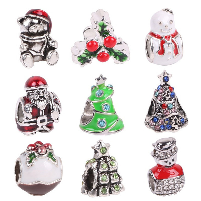 aifeili 2018 silver color enamel santa christmas gift box charms european bead fit pandora bracelet diy