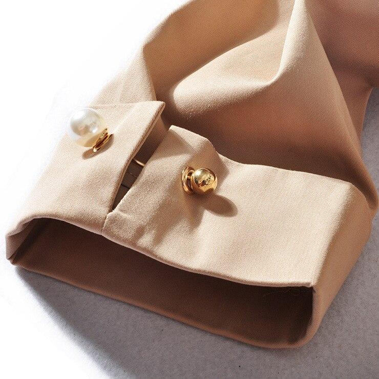 Turn Manches Solide 2018 Col Khaki Femmes Arrivée Double Tricoté Plein Mince Breasted Nouvelle Streetwear Samgpilee down Tranchée Longues D'été SzgA0rqS