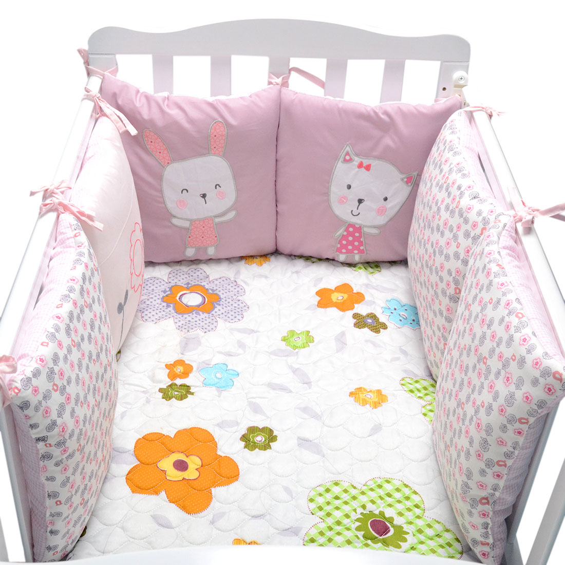 6pcs Baby Bed Bumpers Cotton Newborn Bed Crib Bumper Bedding Around Protection Multi-function Back Cushion Pillow Crib Bumpers