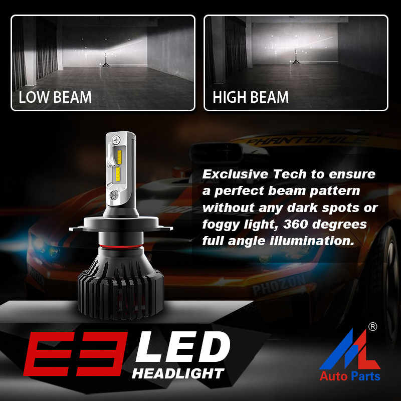 Xenplus H4 led Car Headlight H7 H1 H3 H27 HB3 HB4 H11 H8 9007 9005 9006 5202 H13 Hi/Lo Headlamp ZES 12V 8000LM Fog Lamp For Auto