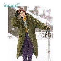 Инман зима новое поступление с капюшоном повседневные свободные стиль плотная, ветронепроницаемая теплые для женщин длинные подпушка верх