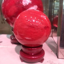 100mm  red smelting crystal ball natural feng shui magic healing ball, gem + bracket.