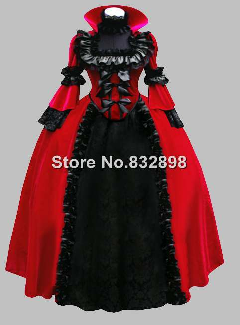 Gothic Black and Red Velvet Noble Victorian Ball Gown Stage Dress