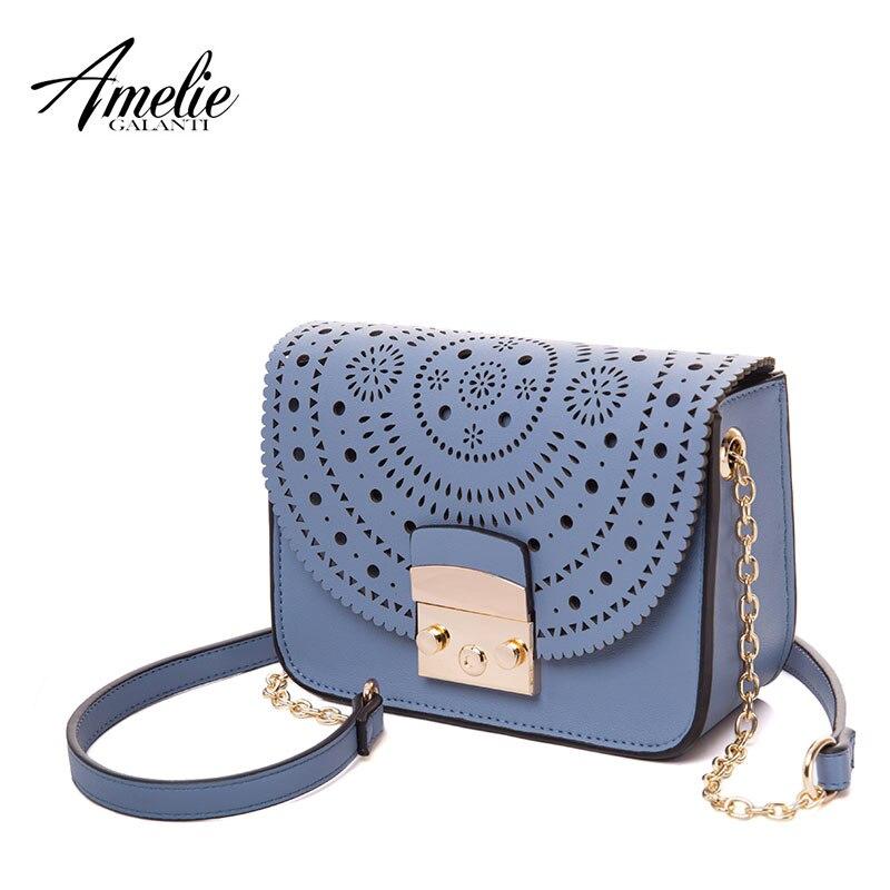 AMELIE GALANTI lady  bags High quality PU fabric Design fashion Hollow Out Flap Messenger Bags Versatile Fashion chains купальник amelie im68n41 imis