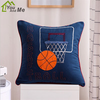 48cm Square Cotton Cloth Basketball Hockey Embroidered Cushion Cover Car Home Sofa Seat Boy Children Room