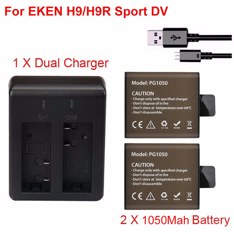 Action Camera Spare Battery 2 X 1050mAh chargeable Battery + Dual USB Charger Dock For EKEN H9 H9R H3R H8